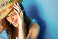 Funny woman portrait on blue Royalty Free Stock Photo