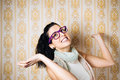 Funny woman wearing purple glasses Stock Photos