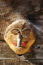 Funny wooden mask for decorating house in Zermatt village Royalty Free Stock Photo