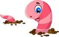 Funny worm cartoon on the sand Royalty Free Stock Photo