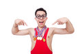 Funny wrestler with winners gold medal Royalty Free Stock Images