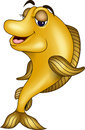 Funny yellow fish cartoon Stock Photo