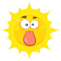 Funny Yellow Sun Cartoon Emoji Face Character Stuck Out Tongue Royalty Free Stock Photo