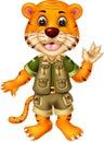 Funny Yellow Tiger In Adventure Uniform Cartoon Royalty Free Stock Photo