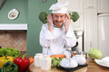 Funny young Chef with broccoli Stock Images