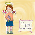 Funny young student girl before exam illustration Royalty Free Stock Photos