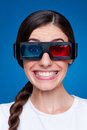 Funny young woman in 3d glasses Royalty Free Stock Photos