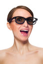 Funny young woman in black glasses isolated on white background Royalty Free Stock Image