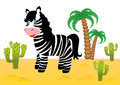 Funny zebra in africa smiling Stock Photography