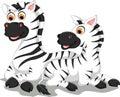 Funny zebra cartoon with her baby