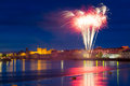Fuochi d'artificio sopra il re John Castle in Limerick Fotografia Stock