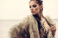 Fur coat and flash tattoos Royalty Free Stock Photo