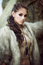 Fur coat and flash tattoos Royalty Free Stock Photo