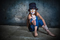 Furchtsamer Monsterclown des Portraits Stockfotos