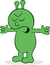Furious alien with hands raised cartoon Royalty Free Stock Images