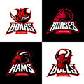Furious boar, horse, ram, bull head isolated vector sport logo concept set.