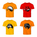 Furious boar, wolf, panther and eagle head sport vector logo concept set on color t-shirt mockup.