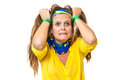 Furious brazilian supporter pulling her hair on white background Royalty Free Stock Images