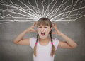 Furious child screaming on grey background Royalty Free Stock Images