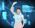 Furious classy businesswoman throwing her calculator composite image of Royalty Free Stock Photos