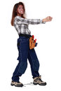 Furious female worker wearing a tool belt Royalty Free Stock Image