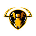 Furious hornet head athletic club vector logo concept isolated on white background. Royalty Free Stock Photo
