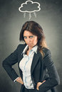 Furious manager woman in angry posture business and job concept Royalty Free Stock Images