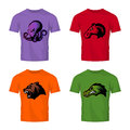 Furious octopus, bear, alligator and horse head sport vector logo concept set isolated on color t-shirt mockup.