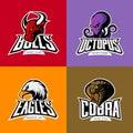 Furious octopus, eagle, cobra, bull head isolated vector sport logo concept set.