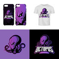 Furious octopus sport club isolated vector logo concept.