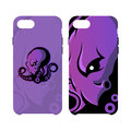 Furious octopus sport vector logo concept smart phone case isolated on white background.