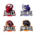 Furious rhino, bull, eagle and panther sport vector logo concept set isolated on white background.