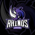 Furious rhino sport vector logo concept on dark background