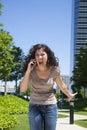 Furious woman shouting phone Royalty Free Stock Photo