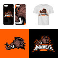 Furious woolly mammoth head sport club isolated vector logo concept