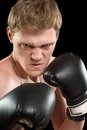 Furious young man in boxing gloves isolated on black Royalty Free Stock Images