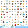 100 furlough icons set, cartoon style