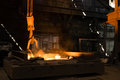 Furnace with Hot Liquid Metal Royalty Free Stock Photo