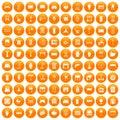 100 furnishing icons set orange