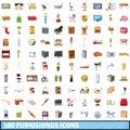 100 furnishings icons set, cartoon style