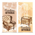Furniture banners vertical set with vintage hand drawn interior objects isolated vector illustration Royalty Free Stock Images