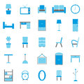 Furniture color icons on white background stock vector Royalty Free Stock Photos