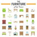 Furniture flat icon set, interior sign collection