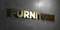 Furniture - Gold sign mounted on glossy marble wall - 3D rendered royalty free stock illustration