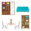 Furniture home decor icon set indoor cabinet interior room library office bookshelf modern