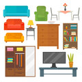 Furniture home decor icon set indoor cabinet interior room library office bookshelf modern restroom silhouette Royalty Free Stock Photo