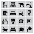 Furniture and home icons vector black set Stock Photo