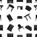 Furniture and home interior pattern icons in black style. Big collection of furniture and home interior vector symbol