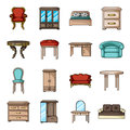 Furniture and home interior set icons in cartoon style. Big collection of furniture and home interior vector symbol