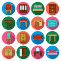 Furniture and home interior set icons in flat style. Big collection of furniture and home interior vector symbol stock